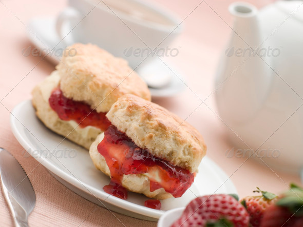 PhotoDune Scones Jam Clotted Cream and Strawberries with Afternoon Tea 334154