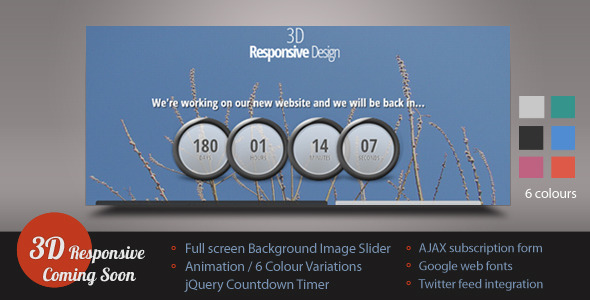 3D Responsive Coming Soon/Under Construction Page