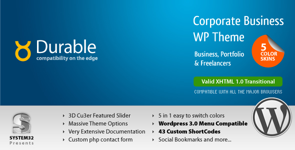 ThemeForest Durable 5 in 1 Business & Portfolio Wordpress 84440