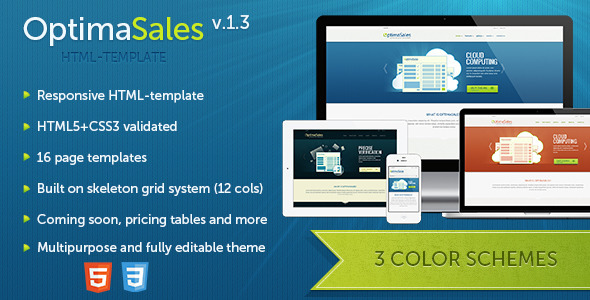 ThemeForest OptimaSales Responsive HTML5 CSS3 Template 3036631