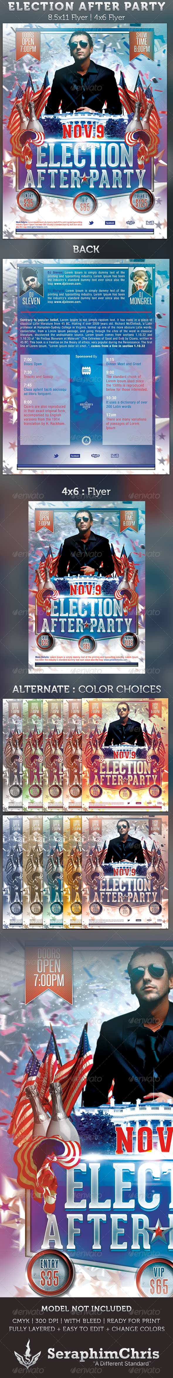 GraphicRiver Election After Party Event Flyer Template 3237345