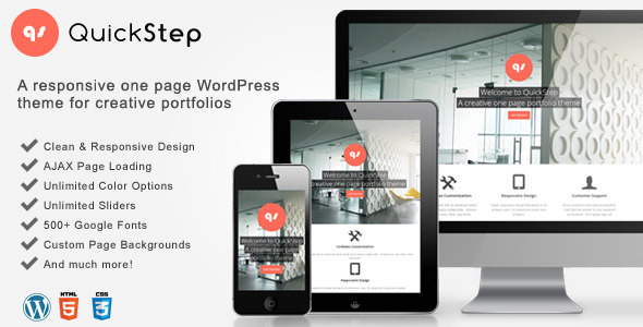 ThemeForest QuickStep Responsive One Page Portfolio Theme 3237426