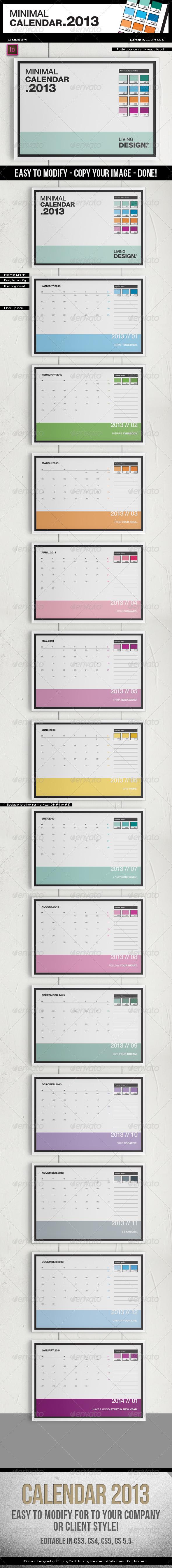 Calendar 2013 A4 Template Pantone Style