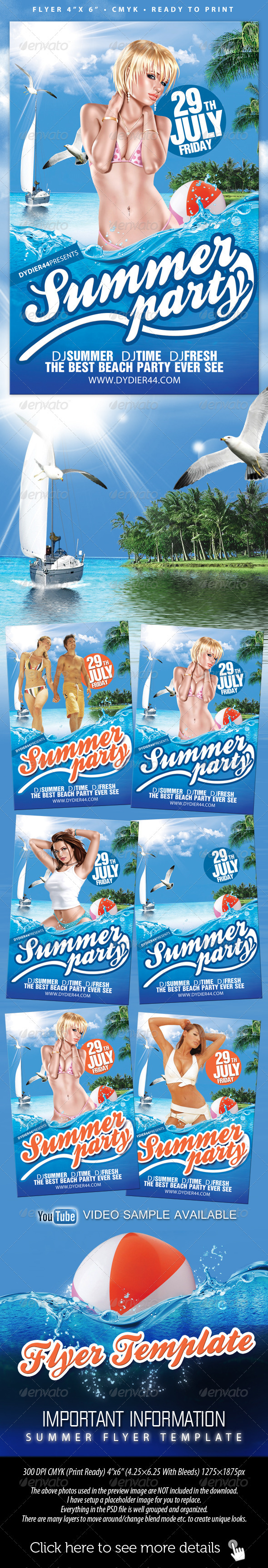 Summer Party (Flyer Template 4x6) - Clubs & Parties Events