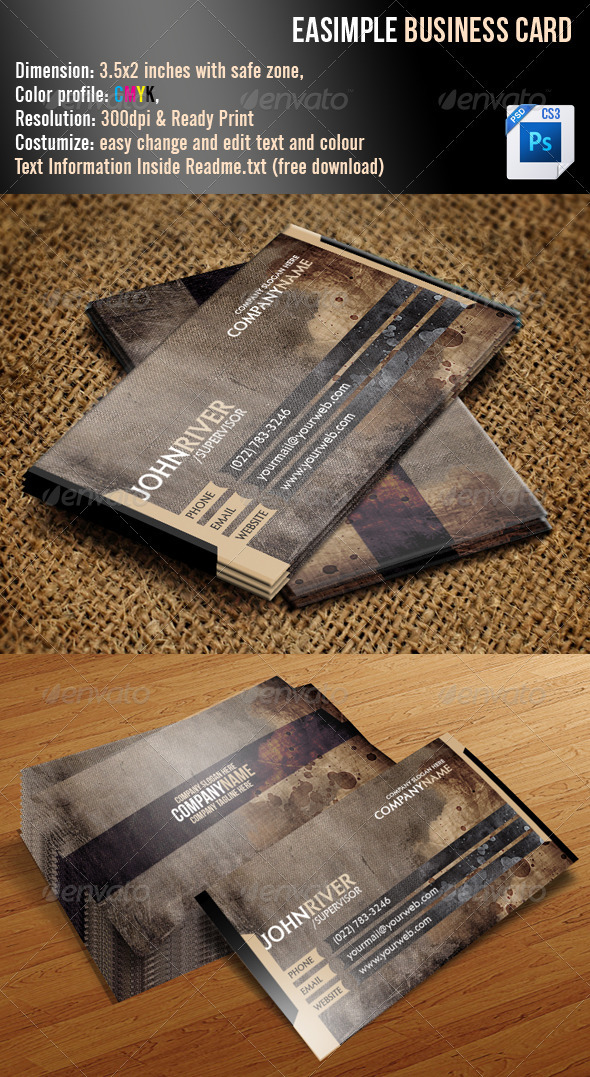 Easimple Business Card - Grunge Business Cards