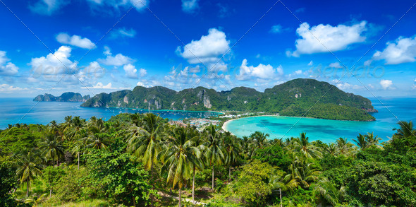 Panorama of tropical island - Stock Photo - Images