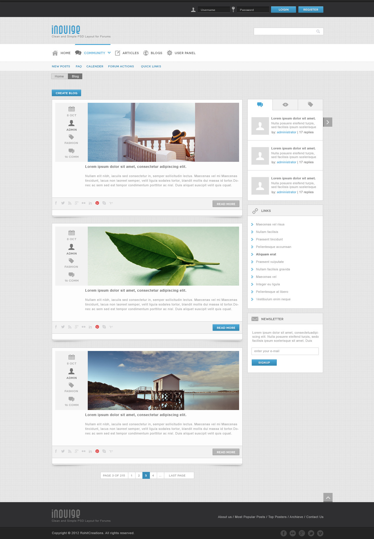 Indulge - Clean PSD for Forums and Blogs