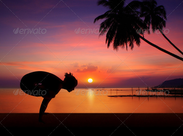 sunset yoga girl - Stock Photo - Images