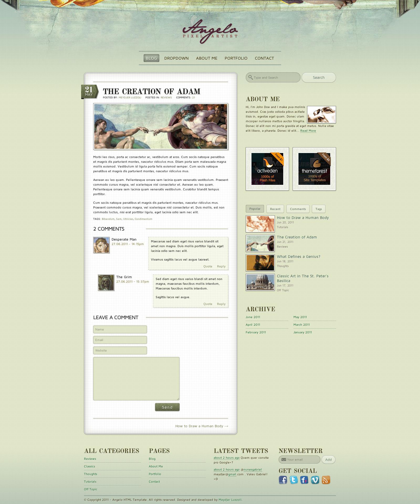 Angelo - Art Template - HTML
