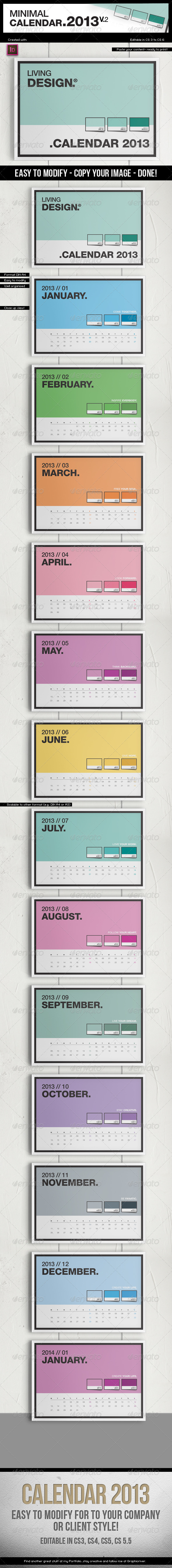Calendar 2013 v2 // A4 Template // Pantone ® Style - Calendars Stationery