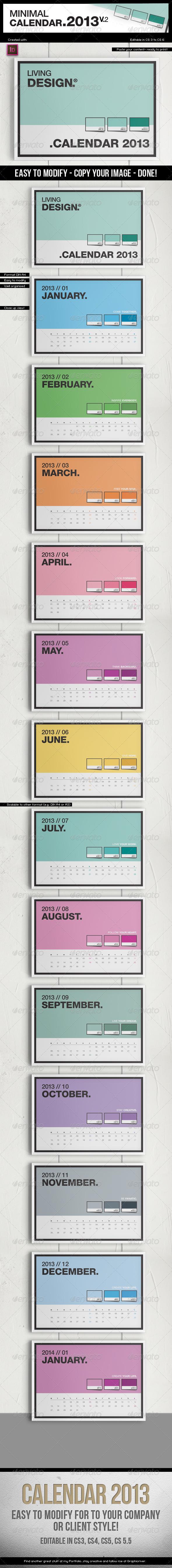Calendar 2013 v2 // A4 Template // Pantone ® Style - Calendars Stationery