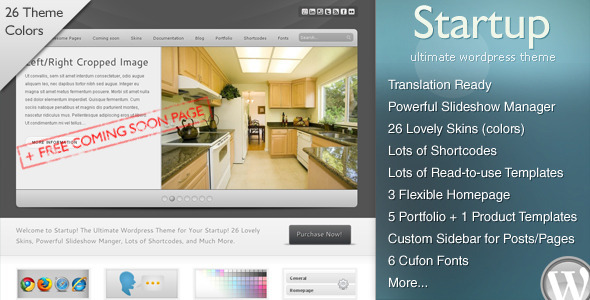 ThemeForest Startup Ultimate WP CMS & Free Coming Soon Page 131337