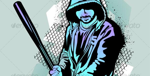 Gangster on dirty graffiti background Monochrome