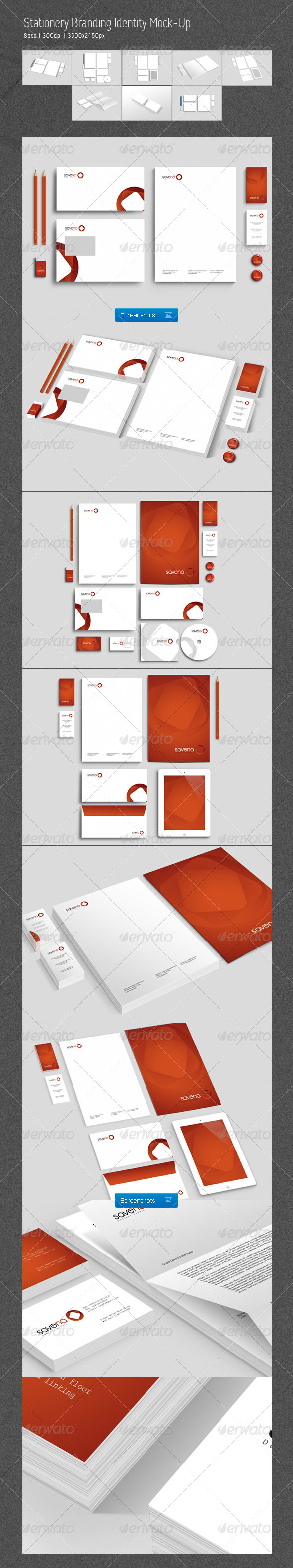 Stationery Branding Identity Mock-Up - Stationery Print