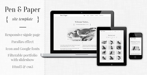 ThemeForest Pen and Paper Responsive Site Template 3229676