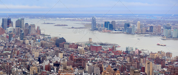 New Jersey Panorama from New York City Manhattan - Stock Photo - Images