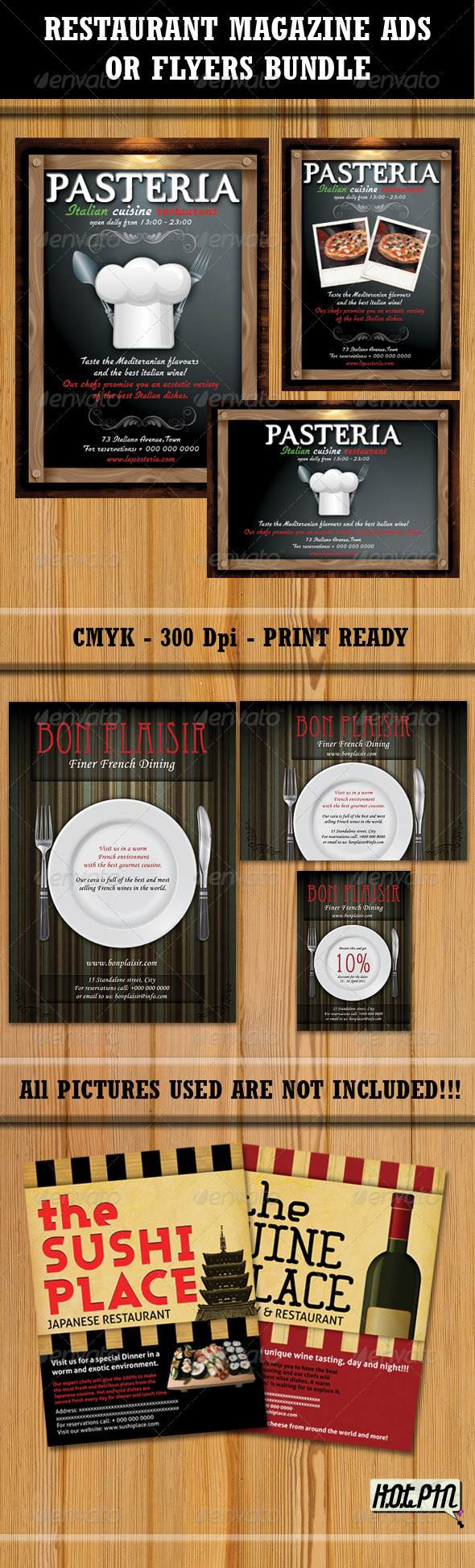 Restaurant Magazine Ads-Flyers Bundle - Restaurant Flyers