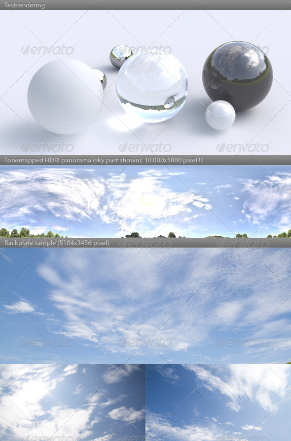 HDRI spherical panorama -1103- sunny sky clouds - 3DOcean Item for Sale