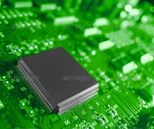 Stock Photo - PhotoDune Closeup of electronic circuit board with processor 2054719