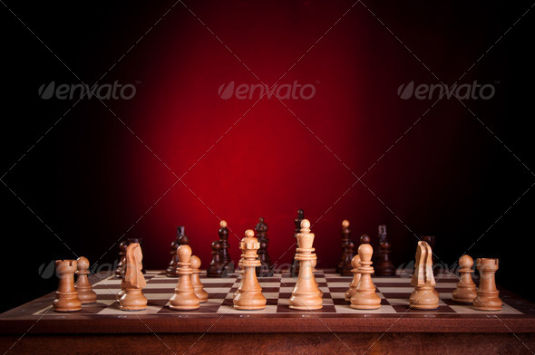 wooden chess board - Stock Photo - Images