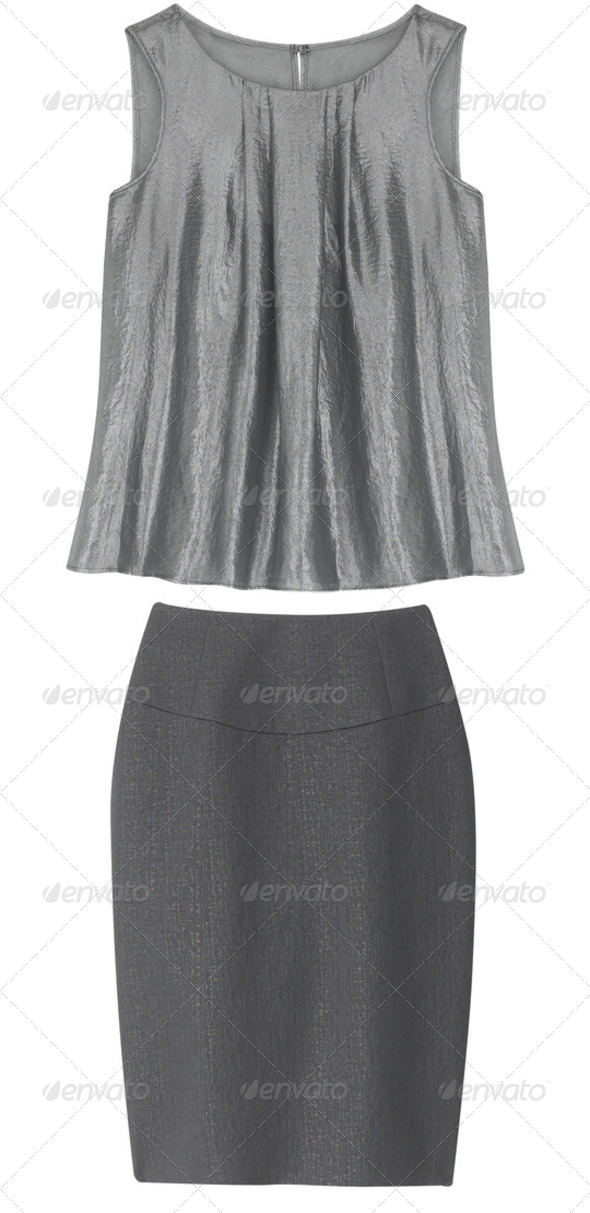 Gray Female Business Suit isolated on the white background - Stock Photo - Images