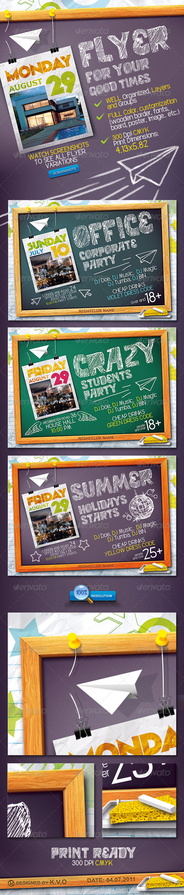 Blackboard Flyer - Clubs & Parties Events