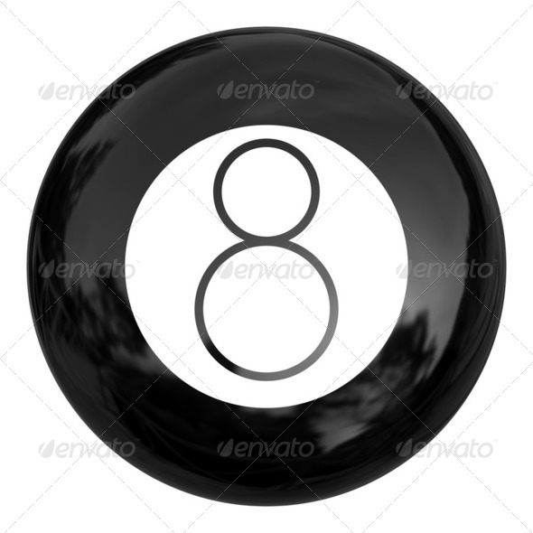 Black billiard ball, illustration - Stock Photo - Images
