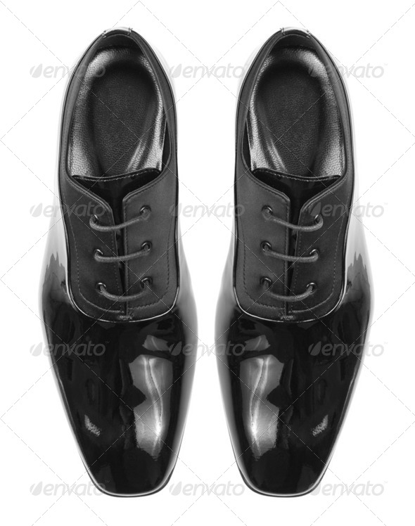 Classic shiny black men's shoes - Stock Photo - Images