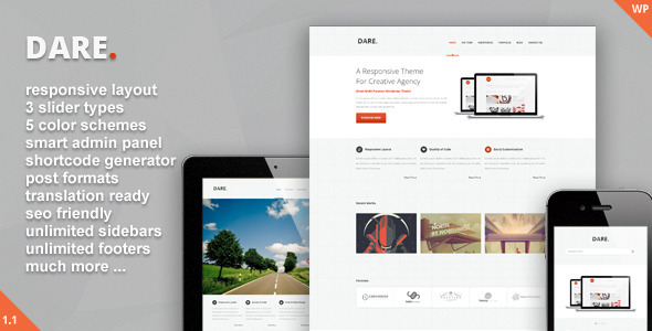 ThemeForest Dare Clean and Modern Wordpress Theme 3209015
