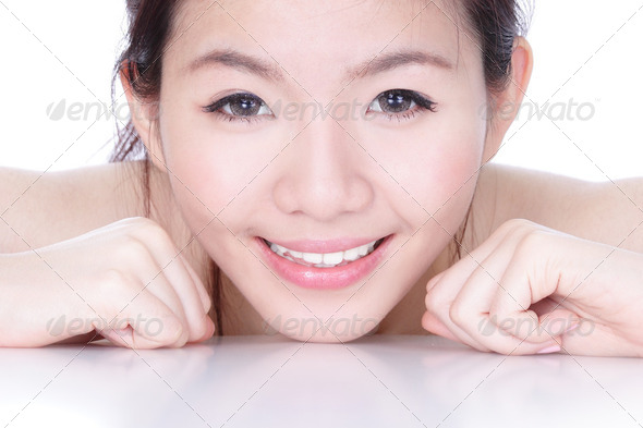 Smile face of a woman with health skincare - Stock Photo - Images