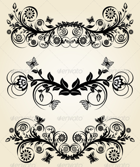 GraphicRiver Set of vintage black floral borders 336570