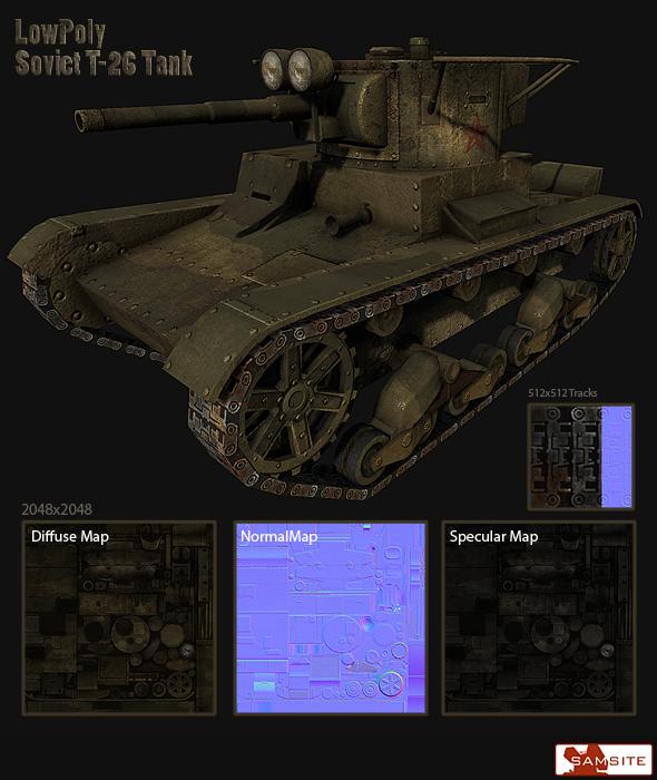T-26 Soviet Tank - 3DOcean Item for Sale