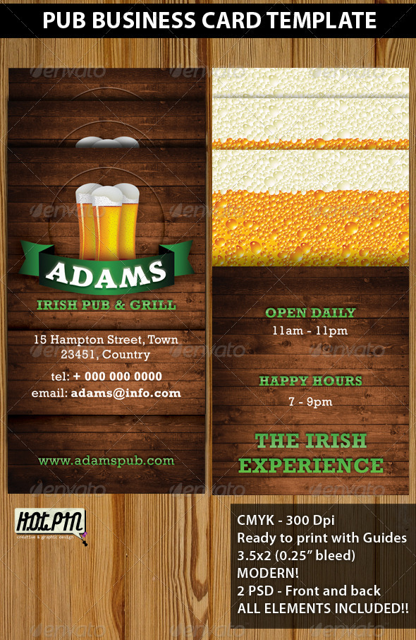 Pub Business Card Template - Creative Business Cards