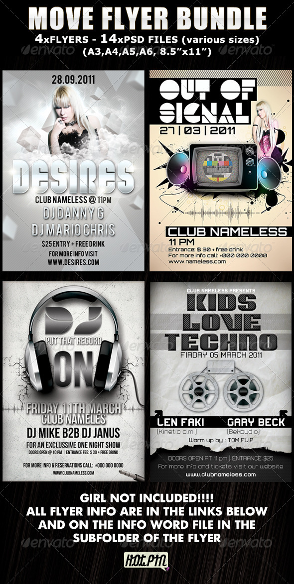 GraphicRiver Move Party-Club Flyer Bundle 336824