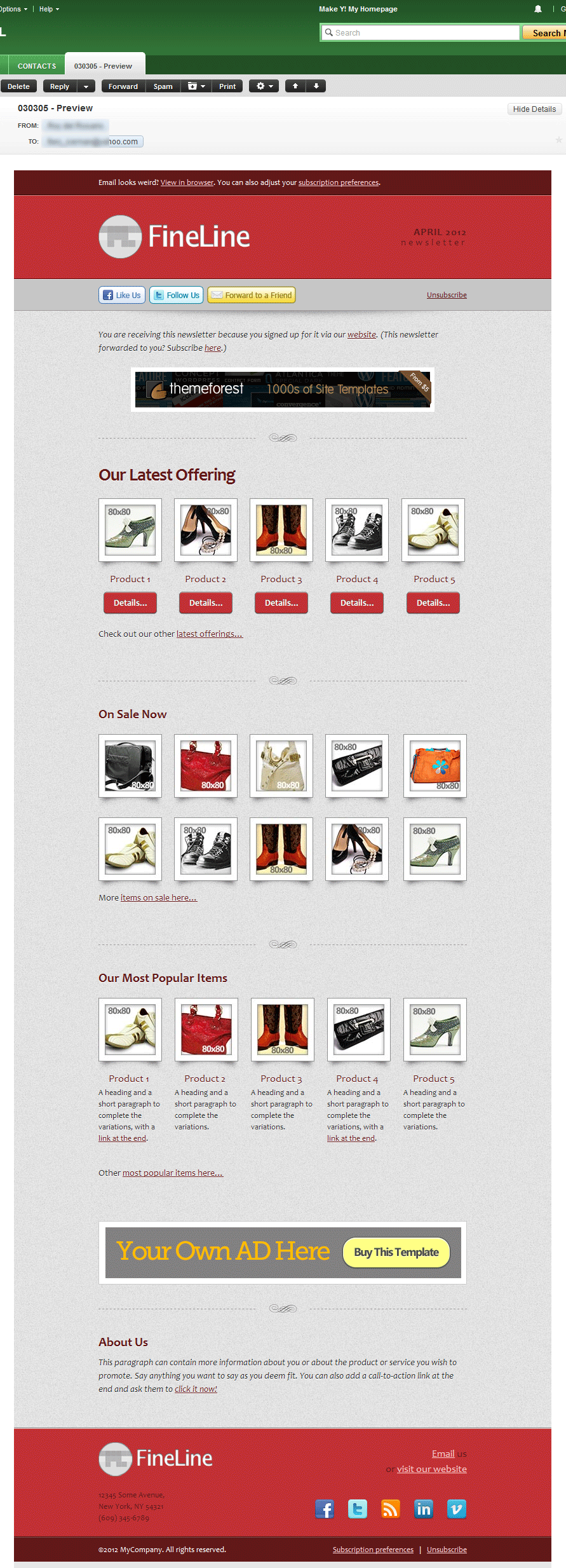 FineLine - Email Template - 30 Layouts 8 Colors - Screenshot in Yahoo! mail, as viewed using Google Chrome