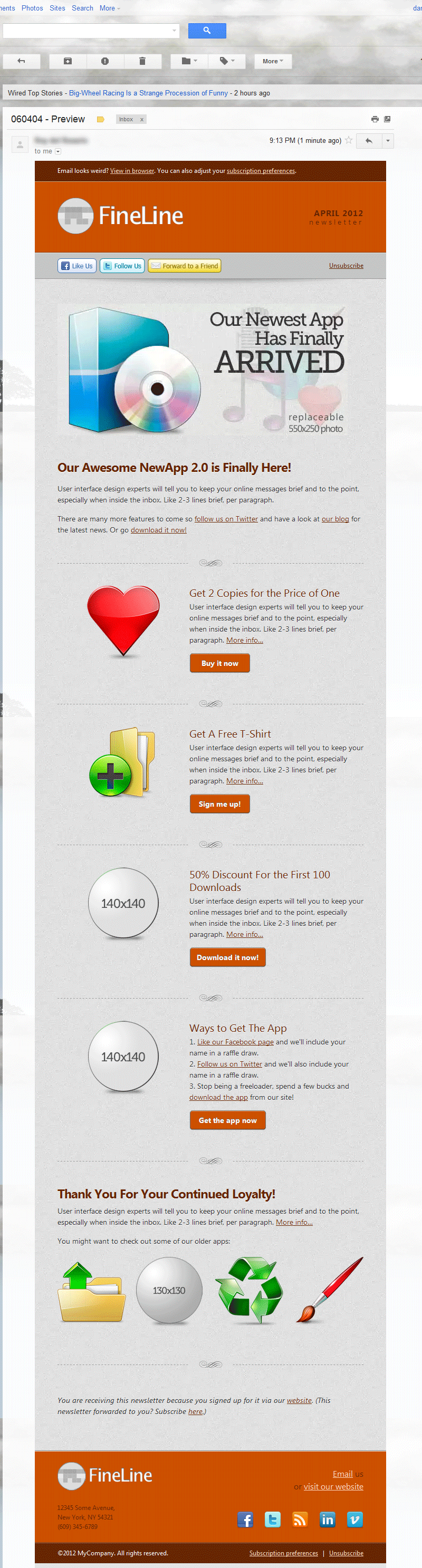 FineLine - Email Template - 30 Layouts 8 Colors - Screenshot in Gmail, as viewed using Opera 11.62.