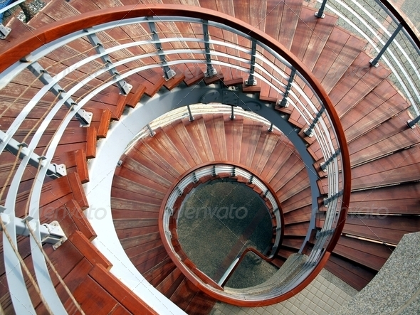 Spiraling Straircase Seen  From Above - Stock Photo - Images