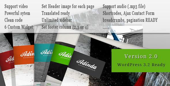 ThemeForest Adinda Premium Business & Portfolio Wp Theme 144102