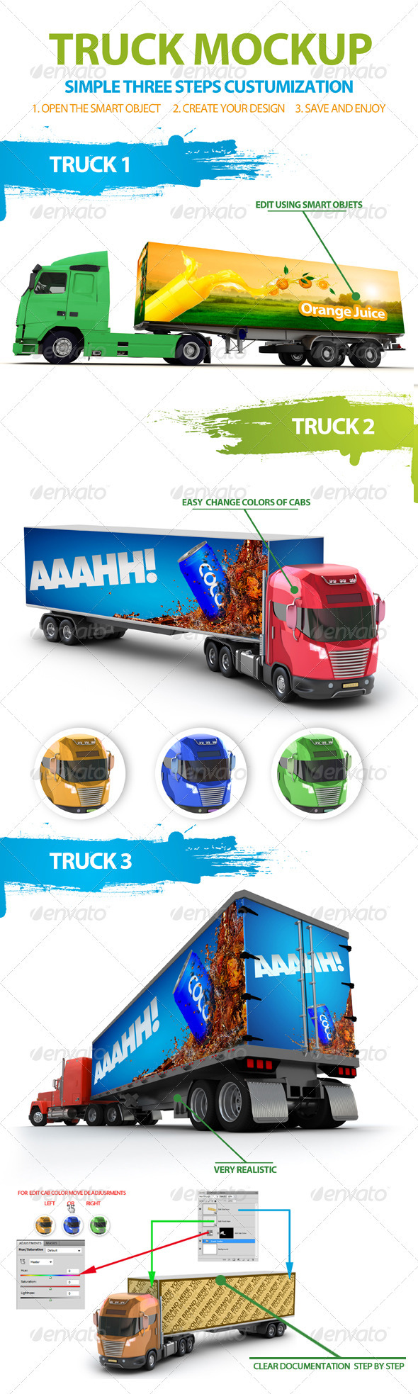 GraphicRiver Truck Trailer Mockup 3240312