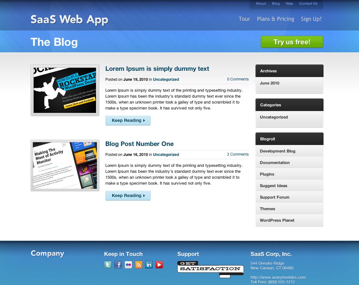 Freemium SaaS Wordpress CMS + Blog Theme I
