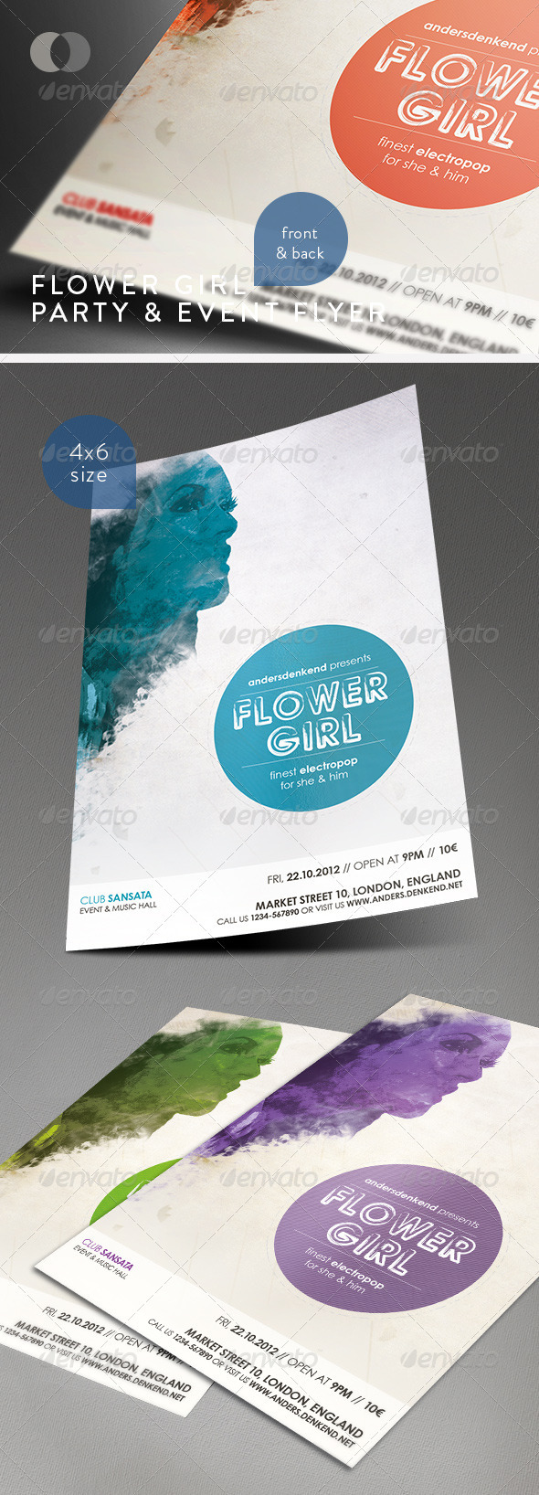 GraphicRiver Music & Event Flyer Flower Girl 1585954