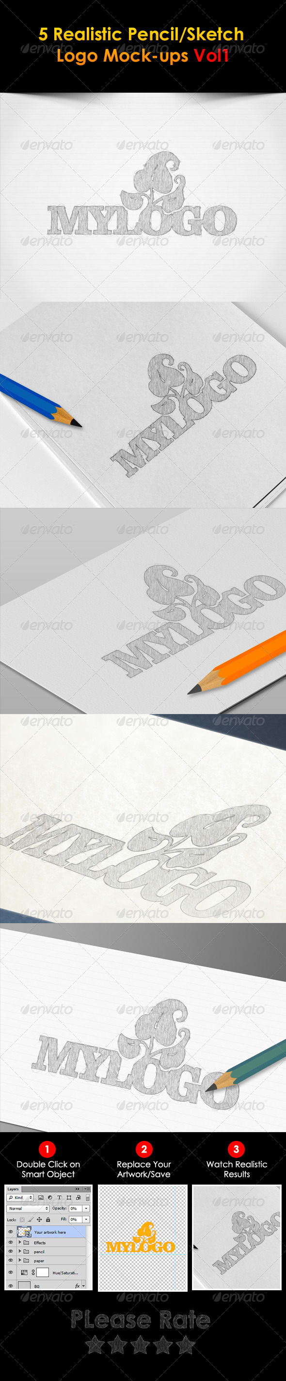 GraphicRiver 5 Sketch Logo Mock-ups 3255764