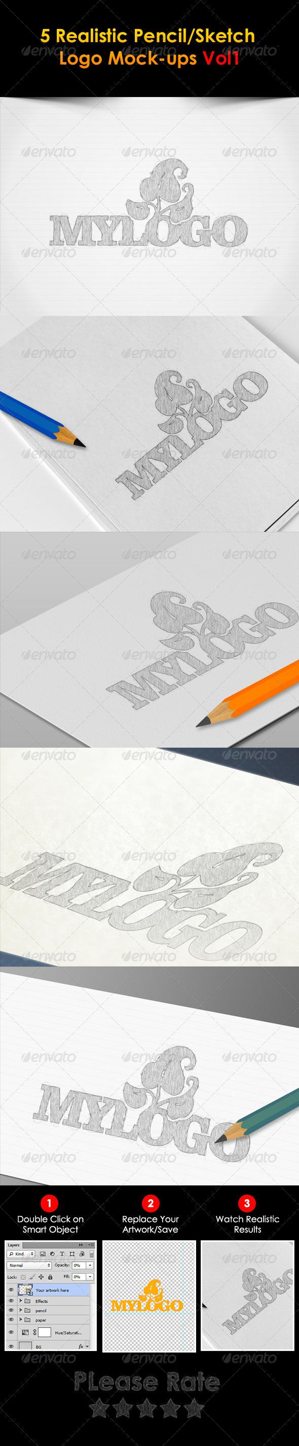 5 Sketch Logo Mock-ups - Logo Product Mock-Ups