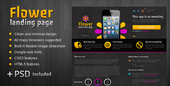 FlowerApp - Mobile Software Landing Page - Apps Technology