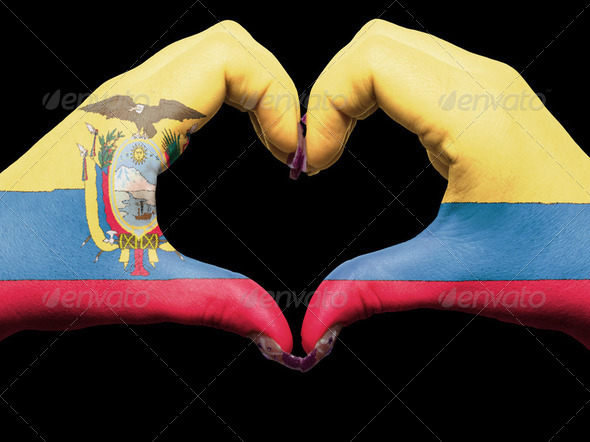 Heart and love gesture by hands colored in ecuador flag for tour - Stock Photo - Images