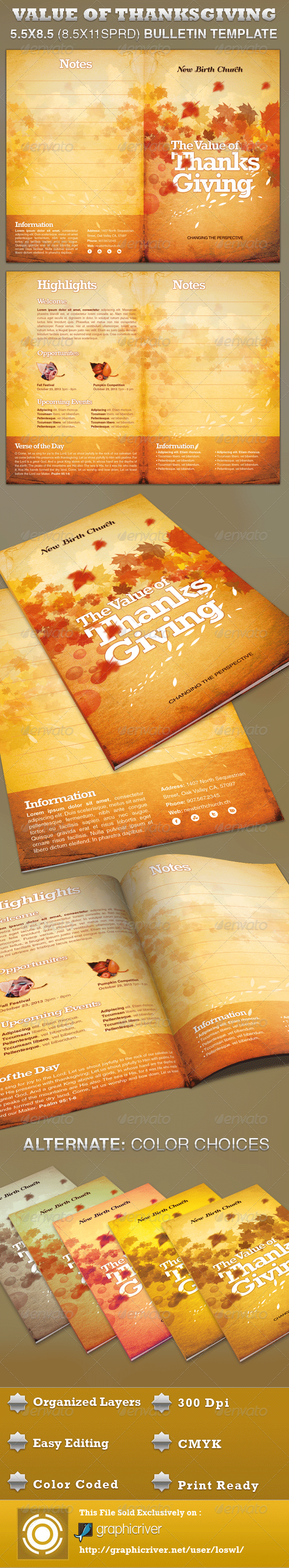 The Value of Thanksgiving Church Bulletin Template - Informational Brochures