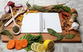 notebook for recipes and spices on wooden board - PhotoDune Item for Sale