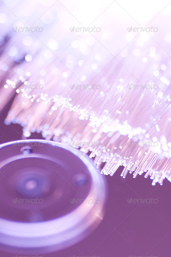 Optical fiber picture with details and light effects. - Stock Photo - Images