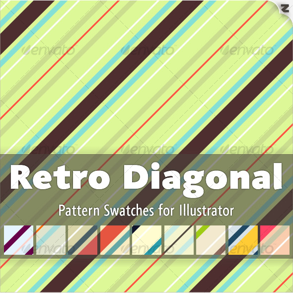 Retro Diagonal Pattern Swatches - Abstract Textures / Fills / Patterns