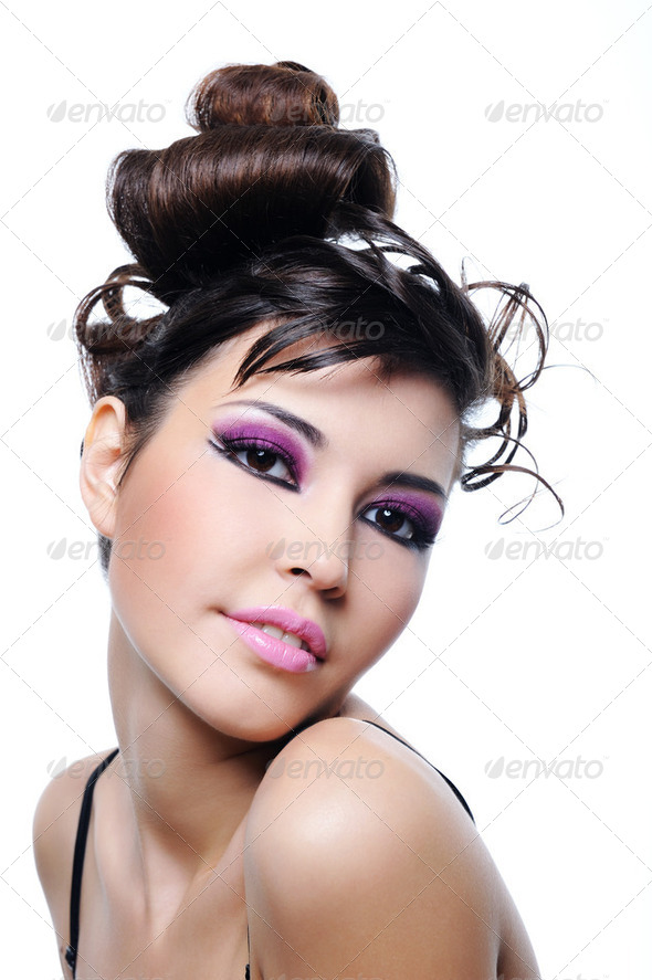 woman fashion hairstyle and bright violet make-up - Stock Photo - Images